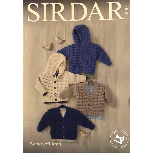 Sirdar Baby/Childrens Cardigan and Hoodie in Aran - 5164