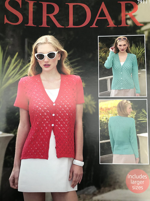 Sirdar Ladies Cardigan 4PLY - Knitting Pattern 7911
