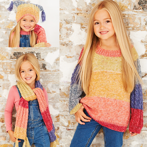 Stylecraft Childrens DK Sweater, Hat and Scarf - 9484