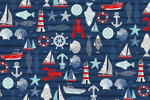Makower Sail Away Icons Fabric - Boats