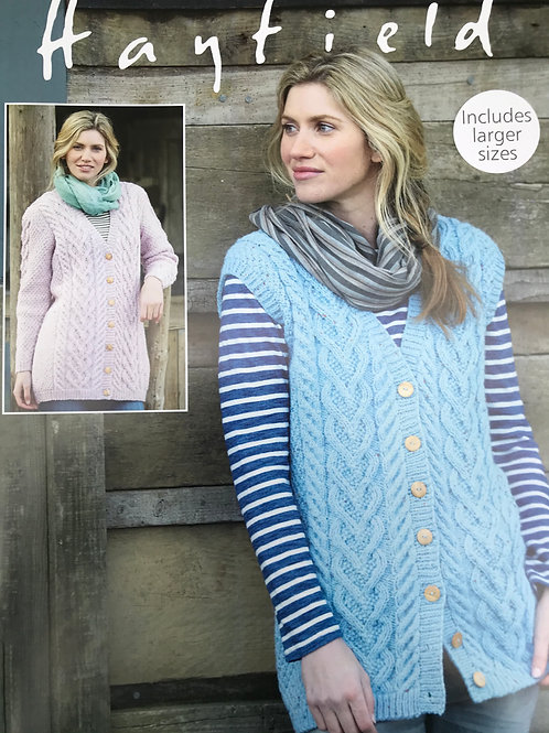 Sirdar Hayfield Ladies Aran Jacket & Waistcoat - Knitting Pattern 7990