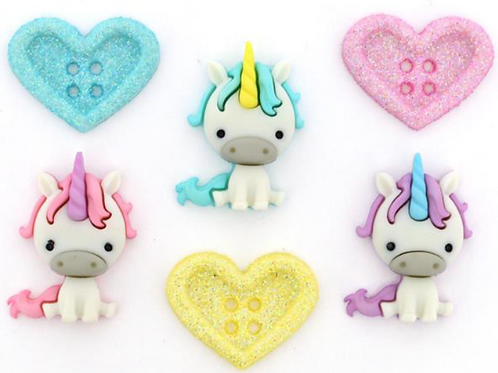 Dress it up Buttons - Unicorn Love 10276 - Childrens/Craft/Fun