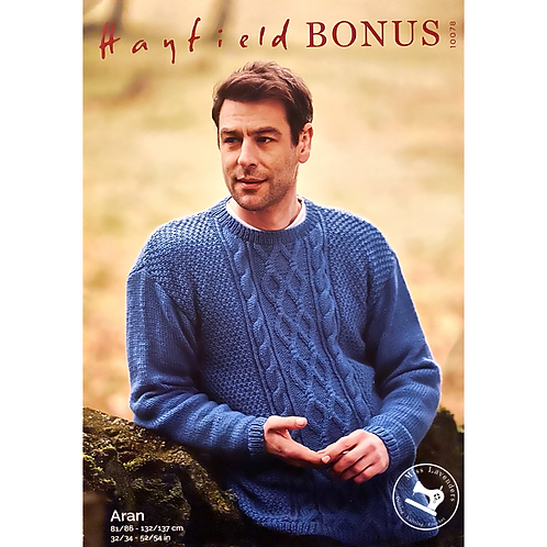 Sirdar Hayfield Mens/Adults Sweater Aran Pattern - 10078