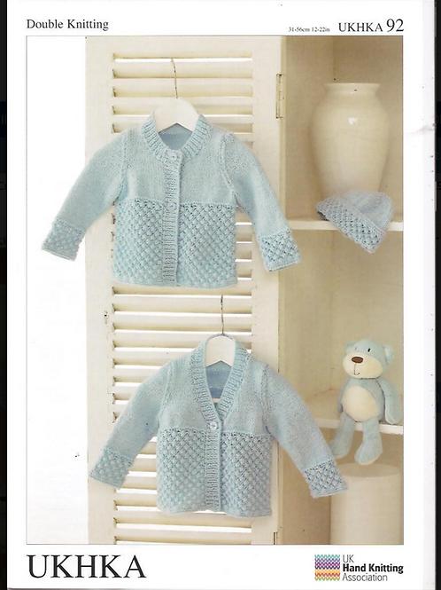 UK Handknitting Pattern Baby Cardigans and Hat -UKHKA92