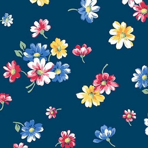 Makower Strawberyy Jam Falling Blossoms Navy