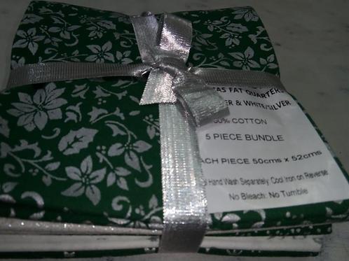 Christmas Fat Quarter Pack - John Louden Cotton Green/White  5 Pack