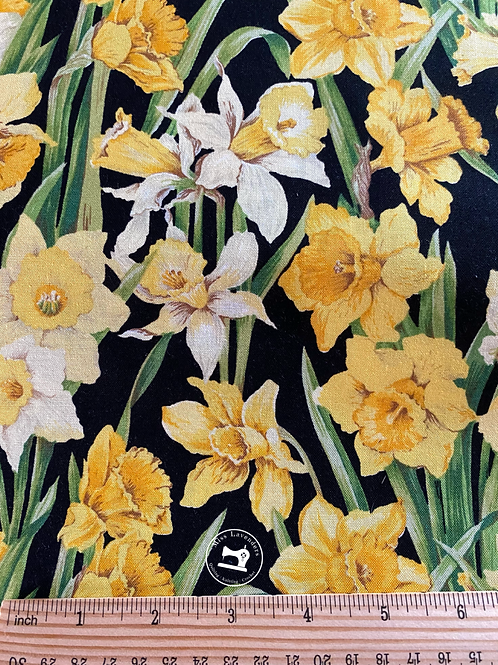 Daffodils Blossom Fabric -Daffodils in Bloom on Black Background
