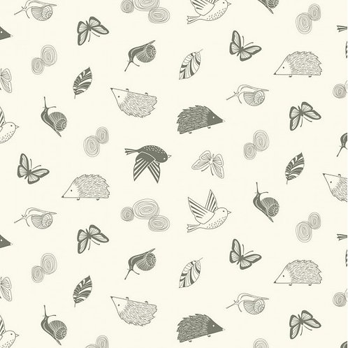 Enchanted Garden Fabric - Hedgehogs, Birds, Butterfly