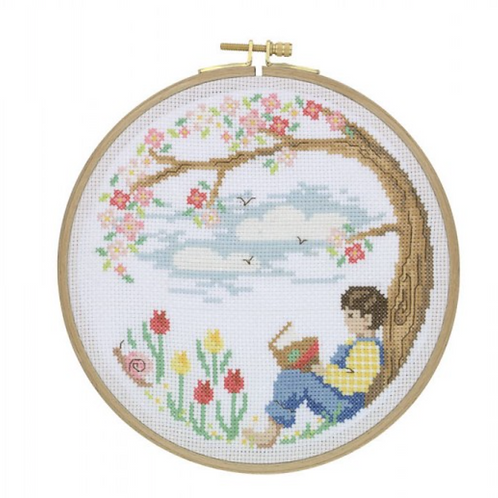 Tuva Cross Stitch Kit with Wooden Hoop -A Quiet Place