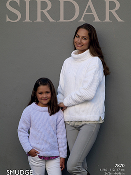 Sirdar Smudge Ladies and Childs Sweater 7870