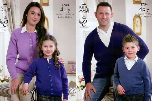 King Cole Ladies, Mens, Children's Cardigan & Jumper 4ply Pattern - 3754