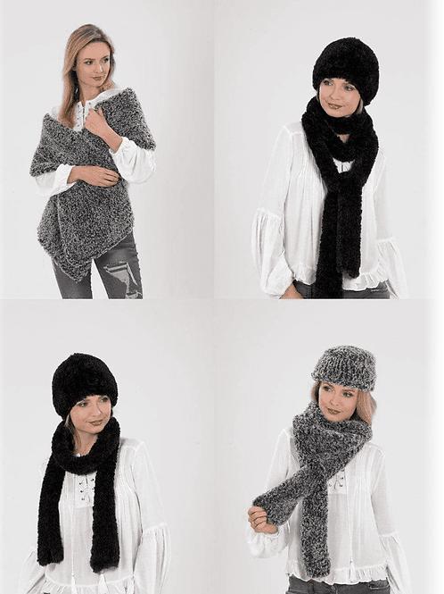 James C Brett Scarf/Hats/Shawl Chinchilla Furry Yarn - Knitting Pattern - JB540