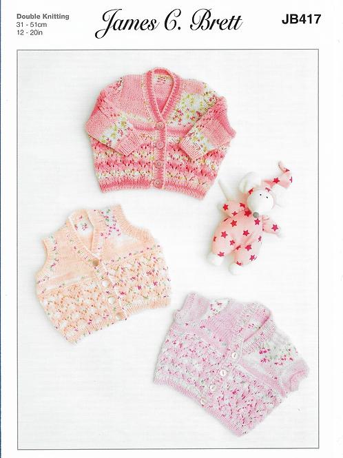 James C Brett Baby Cardigan Double Knit DK - Knitting Pattern JB417
