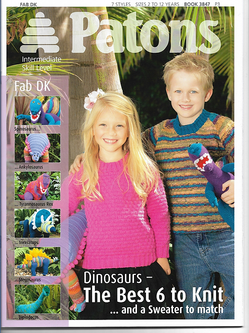 Patons Knitted Dinosaurs including Childrens Sweater in Double Knit