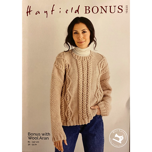 Sirdar Hayfield Adults Sweater Aran Pattern -10223