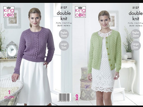 King Cole Adult Cardigan/Sweater in Double Knit DK - Knitting Pattern 5127