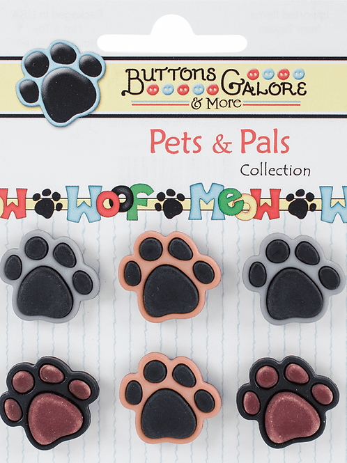Buttons Galore - Precious Paws PP100 - Childrens/Craft Button