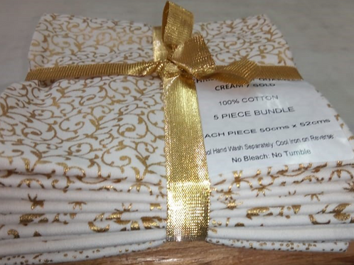 Christmas Fat Quarter Pack - John Louden Cotton White/Gold  5 Pack
