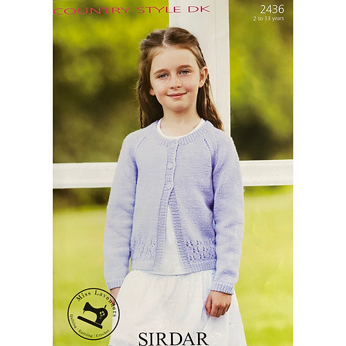 Sirdar Childrens Cardigan - Double Knit - 2436