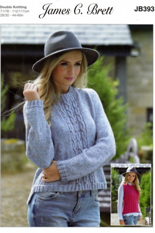 James C Brett Adult Sweater & Slipover Double Knit DK - Knitting Pattern - JB393