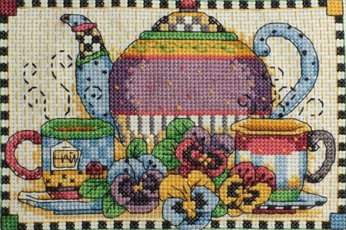 Counted Cross Stitch Kit - Teatime Pansies