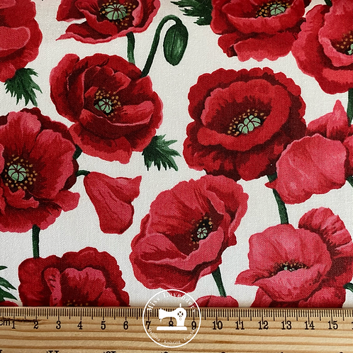 Poppy Fabric - Large Red Poppies White