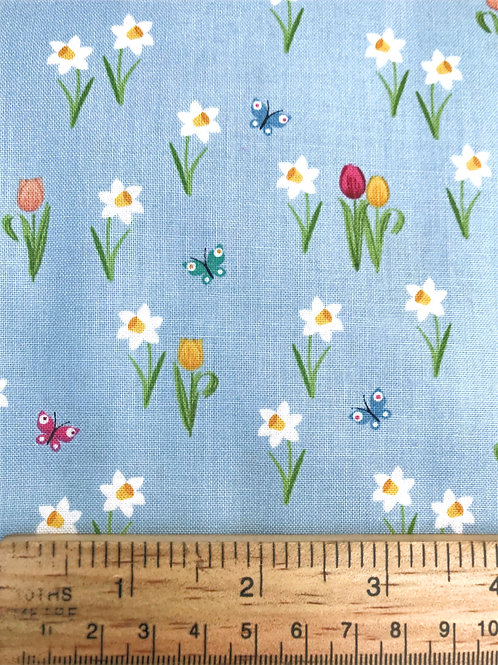 Makower Spring Meadow - Blue Fabric