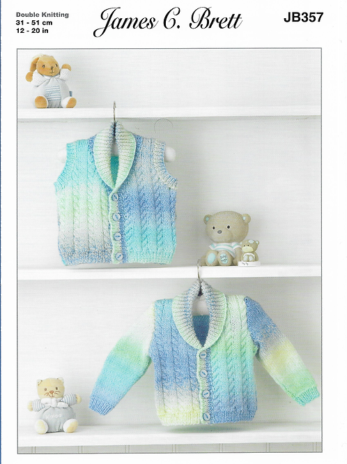 James C Brett  Baby Cardigan/Waistcoat Double Knit DK - Knitting Pattern JB357