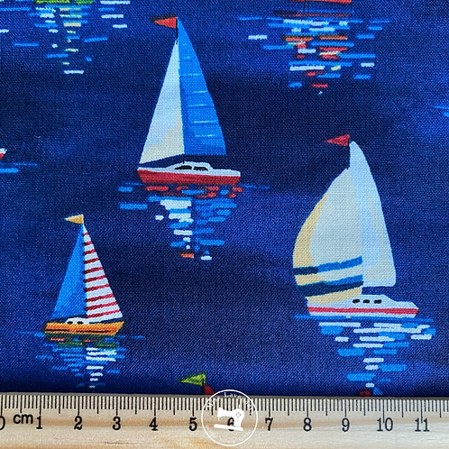 Beside the Sea Sail Boats Dark Blue