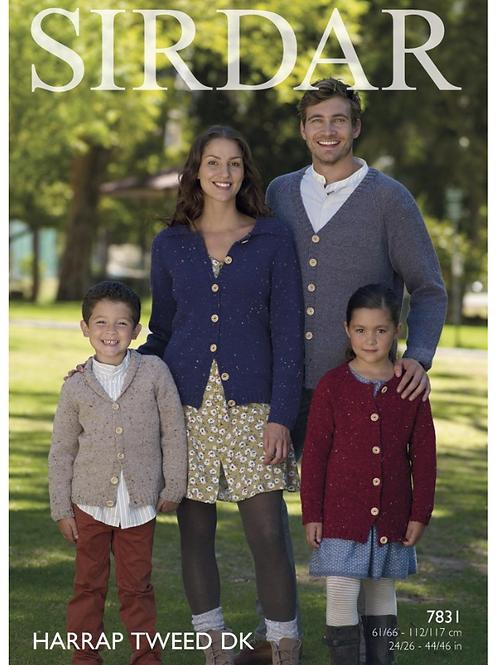 Sirdar Cardigans Mens, Ladies, Children's Double Knit DK - Knitting Pattern 7831