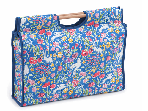 Knitting or Craft Bag with Wooden Handles: Garden Blueberry