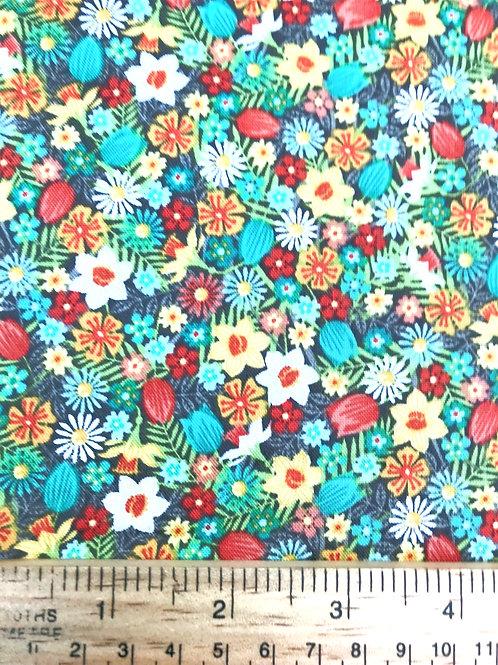 Makower Spring Flowers - Turquoise Fabric