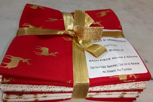 Christmas Fat Quarter Pack - John Louden Cotton White/Red 5 Pack