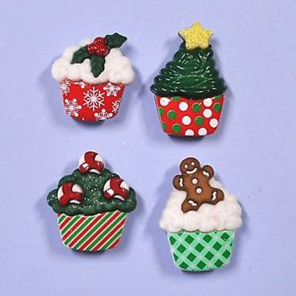 Dress it up Buttons - Christmas Cupcake Buttons