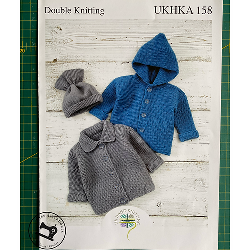 UKHKA Baby Jackets and Hat in Double Knit 158
