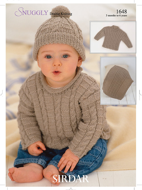 Sirdar Snuggly DK Sweater Hat and Blanket  Pattern 1648