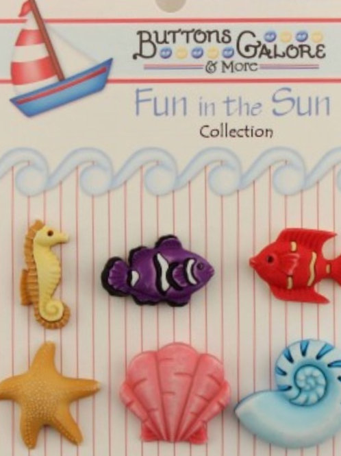 Buttons Galore - Ocean Wonders FN111 - Childrens/Craft Button