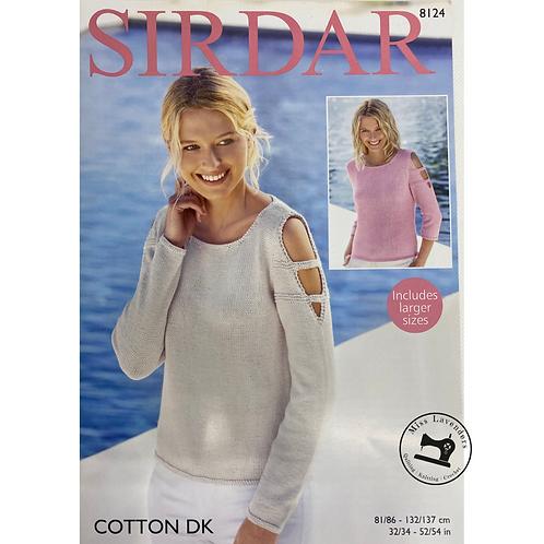 Sirdar Ladies Sweater Cotton DK 8124