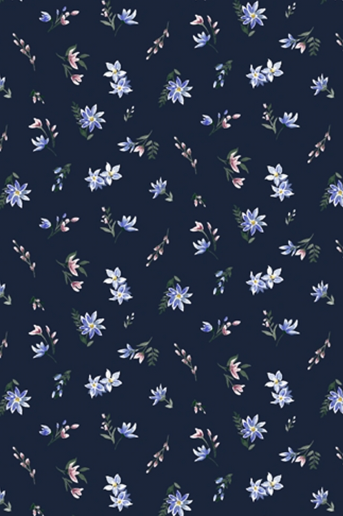 Liberty Winterbourne House - Winterbourne Lawn Fabric - Navy 04775734/A