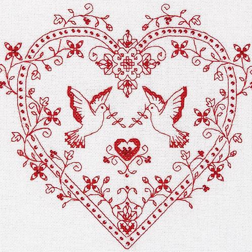 Panna Cross Stitch Kit Heart and Doves - 1403