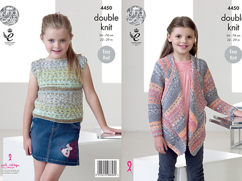 King  Cole 4450 Children DK Waterfall Cardigan & Top
