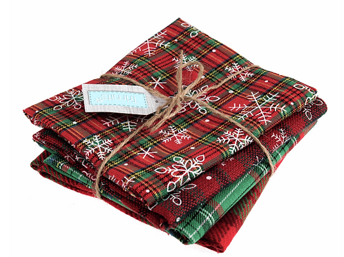 Fat Quarter Bundle: Printed Christmas Tartan: 4 Pieces: Greens