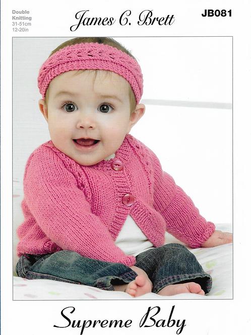 James C Brett Baby Cardigan/Headband Double Knit DK - Knitting Pattern JB081