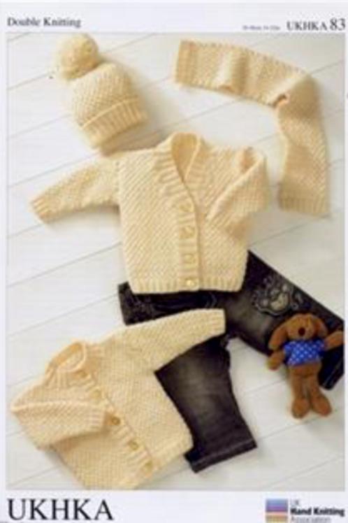 UK Handknitting Pattern Baby Cardigans, Hat and Scarf -UKHKA83