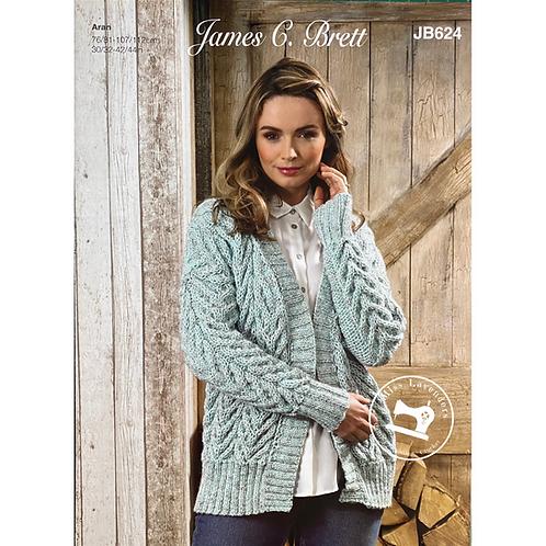 James C Brett - Adult Cardigan - Aran JB624
