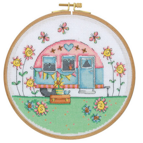 Tuva Cross Stitch Kit with Wooden Hoop - Happy Camper