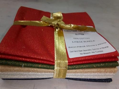 Christmas Fat Quarter Pack - John Louden Cotton Glitter Mixed Colours  5 Pack