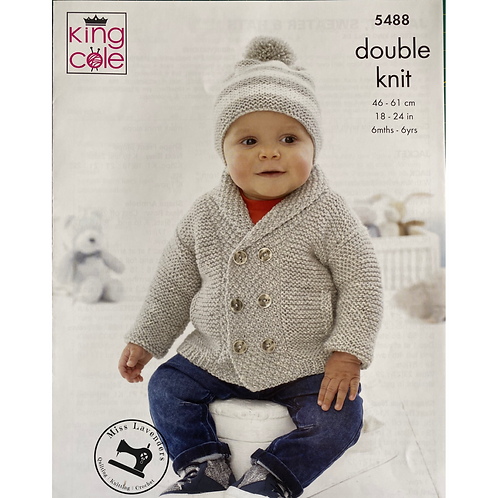King Cole  Babies Jacket, Hat and Sweater Double Knit DK - 5488