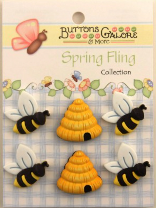 Buttons Galore - Busy Bees SF100 - Childrens/Craft Button