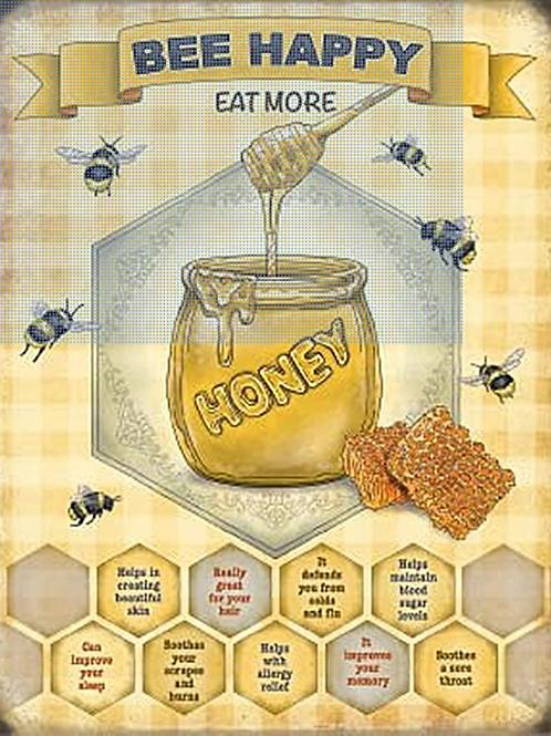Bee Happy Eat More Honey Metal Sign